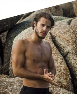 Image of a topless male model, used to promoting plastic surgery for men