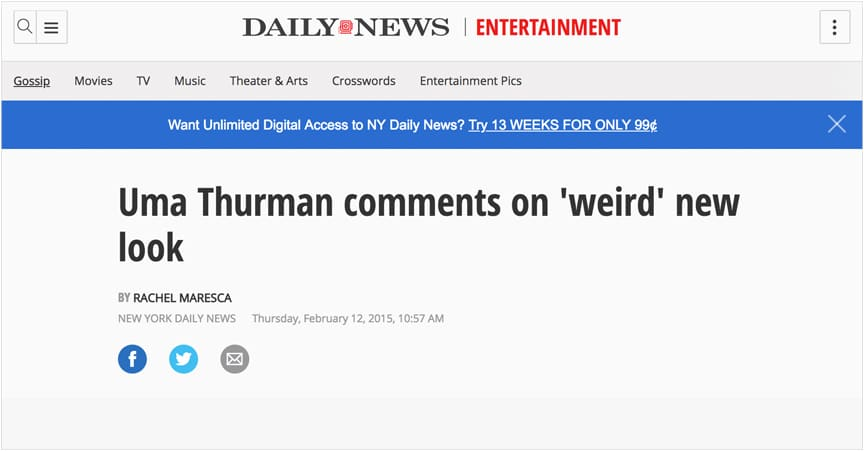 Uma Thurman comments on 'weird' new look: 'I guess nobody liked my makeup'