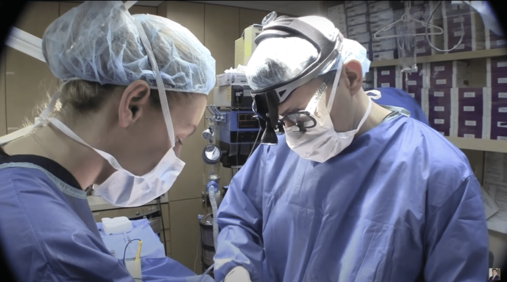Dr. Miller performs a buccal fat excision surgery at his New York surgical center.